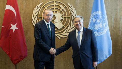 Turkish president discusses Syria with UN chief in New York