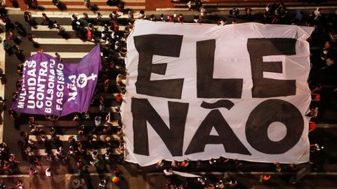 Brazilian women lead nationwide protests against far-right candidate