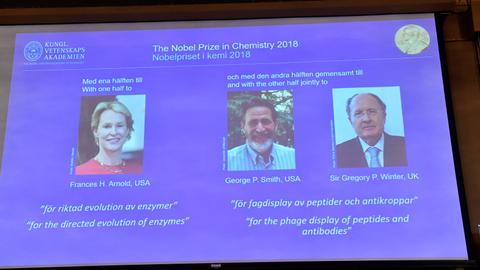 Three researchers win 2018 Nobel Chemistry Prize