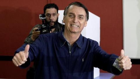 Far-right candidate Jair Bolsonaro wins first round in Brazil election