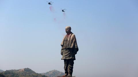 Towering statue of India's independence leader unveiled amid protests