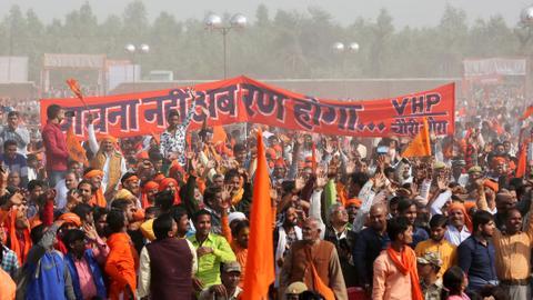 Muslims 'terrified' as Hindu hardliners in India demand temple rebuilding