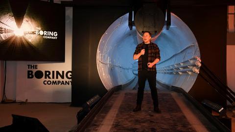 Elon Musk unveils LA test tunnel