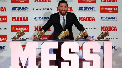 Messi receives 5th Golden Shoe award for Europe's top scorer
