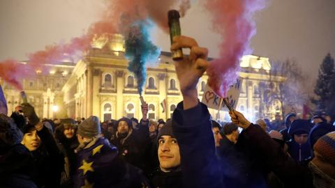 Protesters return to streets as Hungary's Orban digs in