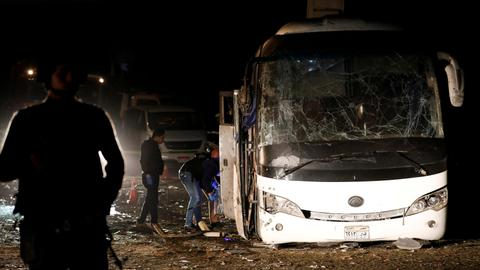 At least four killed as bomb hits tour bus near Egypt pyramids