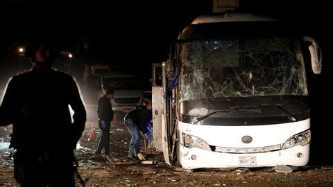 At least four killed as bomb hits tour bus near Egypt pyramids