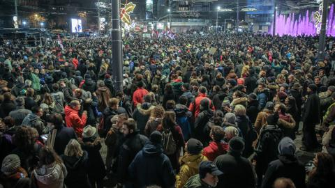 Thousands march against Serbian president