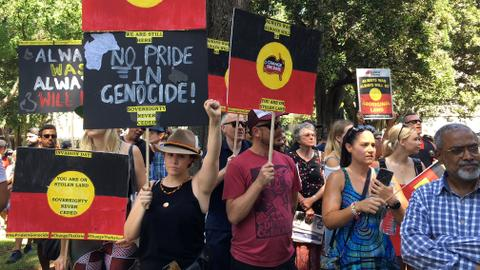 Thousands protest 'colonisation', 'genocidal' origins of Australia Day