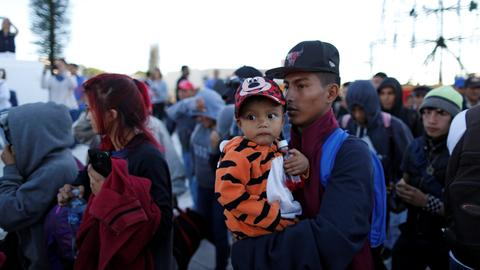 Latest group of migrants from Central American proceed walk to US border