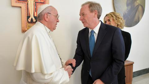 Pope discusses ethics of artificial intelligence with Microsoft chief