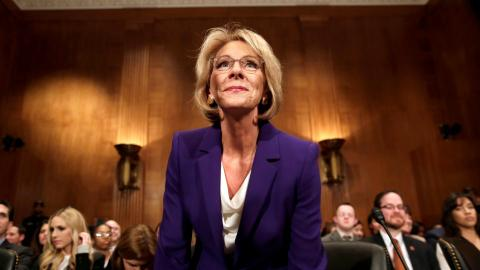 Historic vote helps DeVos become US education secretary