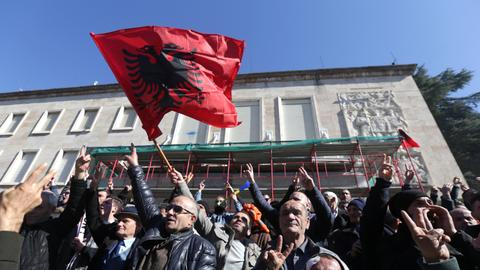 Albanian opposition holds anti-govt rally, demands new vote