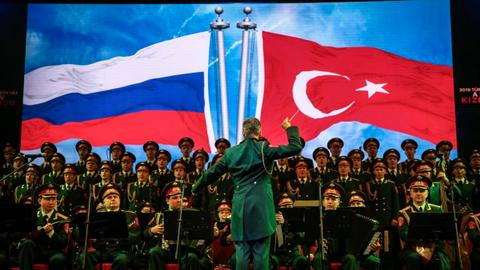 Russian Red Army choir performs concert of Turkish, Russian music in Turkey