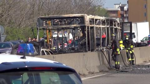 Hostage children rescued in Italy as driver hijacks and torches school bus
