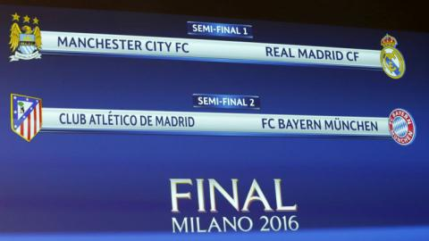 City-Real, Atletico-Bayern drawn in Champions League semis