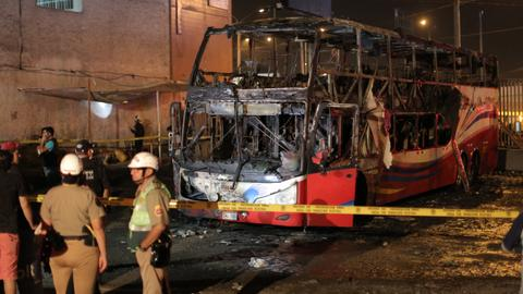 At least 20 dead in Peru bus fire