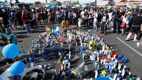 Mourners injured in stampede during vigil for slain rapper Nipsey Hussle