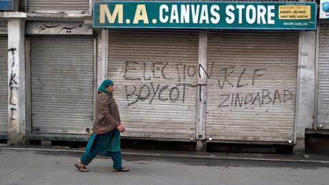 Boycott and curbs subdue India's election in disputed Kashmir