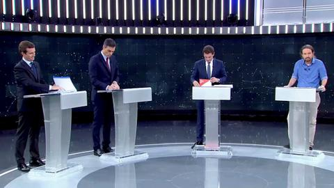 Spain PM, rivals clash over Catalonia in election debate