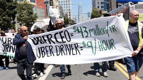 Uber drivers hold strikes in London, US