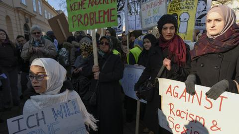 Activists show solidarity with Muslim girls after Austria hijab ban