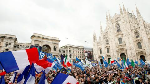 Far-right parties from across Europe attend rally led by Italy's Salvini