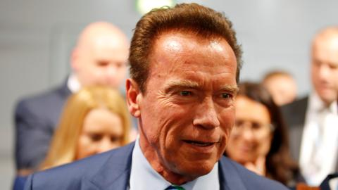 Schwarzenegger kicked in the back at global sports event