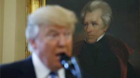 Trump hails as his hero a president who expelled natives, defied law