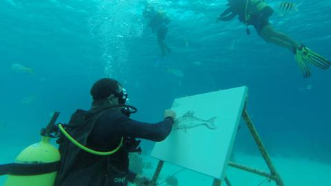 Watercolour takes new meaning as Cuban artist paints under the sea