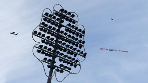 Cricket: Plane towing 'Justice for Kashmir' banner flies over UK stadium