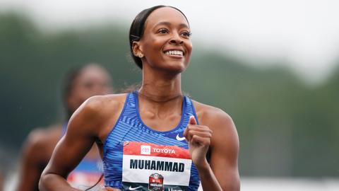 Muhammad breaks world record in 400m hurdles at nationals