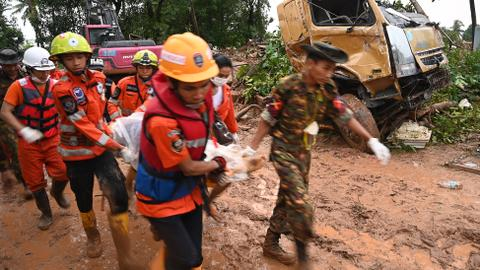 Myanmar landslide kills dozens, many more feared missing