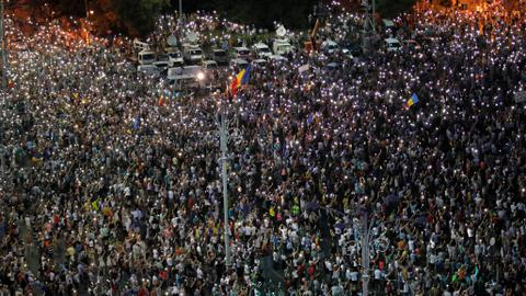Thousands rally in Romania on anniversary of violent protest