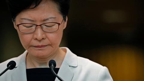 Hong Kong leader Lam would step down if she could, according to leaked tape
