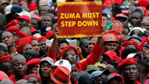 South African opposition marks Zuma's birthday with protest