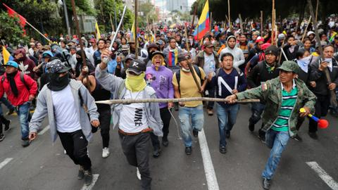 Ecuador President Moreno orders curfew as protesters clash with police