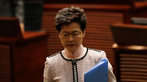 Hong Kong leader presents policy address via video after disruption