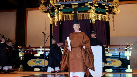 Japan's emperor officially proclaims his enthronement