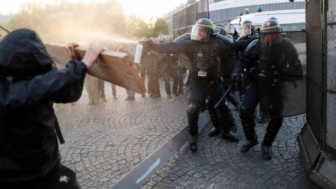 French protesters clash with police over election results