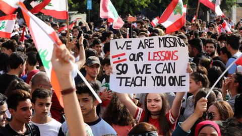 Students take to Lebanon streets as protests grow