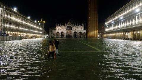 Record high tide hits flooded Venice city