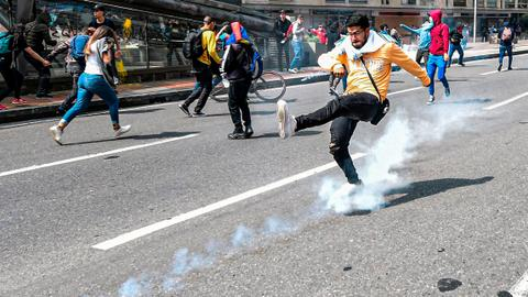 Protesters tear-gassed in Bogota as Duque starts 'national conversation'