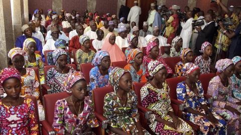 Released Chibok girls arrive in Nigerian capital Abuja