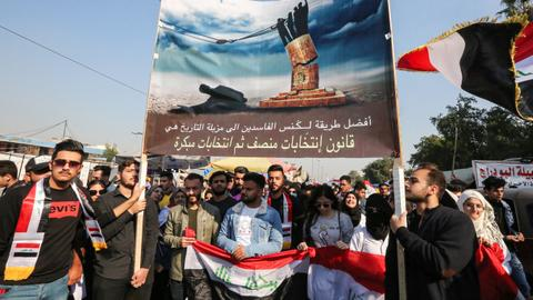 Iraqis protest ahead of parliament's missing of deadline to name new PM