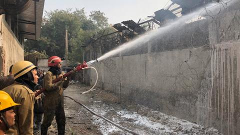 Battery factory collapses in fire in New Delhi, injuring at least 14