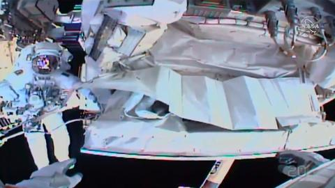 Spacewalking astronauts close to fixing cosmic ray detector