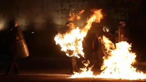 Protesters clash with police outside Greek parliament