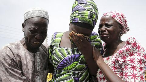 Released Chibok girls reunite with families