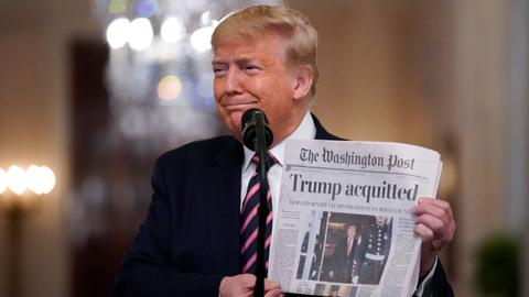Trump takes impeachment victory lap over 'vicious' Democrats